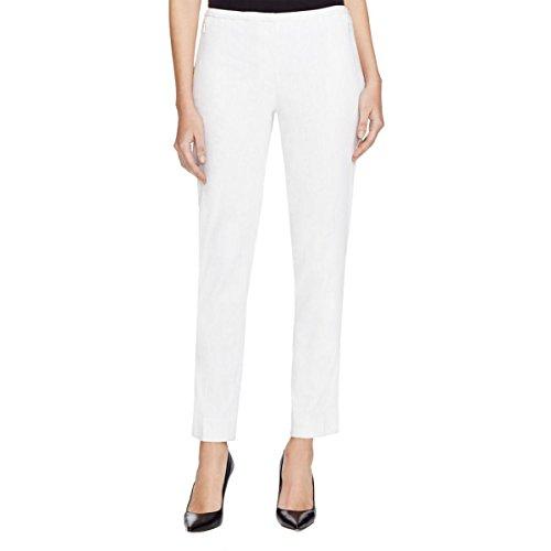 Elie Tahari Womens Marcia Linen Blend Pinstripe Dress Pants White 6 -