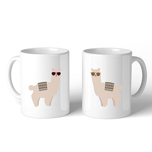 365 Printing Llamas With Sunglasses BFF Matching Mugs Ceramic Microwave - Sunglasses 365