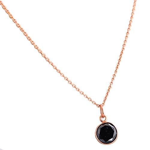 skyjewels 2.5 Ct Certified Black Diamond in Gold, Bezel Set Pendant Necklace ()