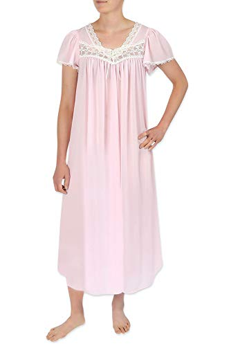 Miss Elaine Nightgown - Long Silk & Sheer Nylon Gown with Flutter Sleeves (Large, Pink)