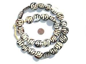 Swirl Design Batik Bone Beads Circular 20mm Kenya African Black and White Flat Crafting Key Chain Bracelet Necklace Jewelry Accessories - Swirl Circular Pendant