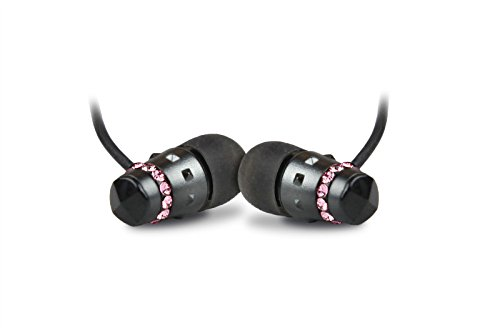 ICE Collection Midnight Rose Earphones for Women - Electroplated Black Housing Encircled with Quality Cut Crystals, Full Range Sound, Rich Bass Performance, Smaller Fit for Women's Ears