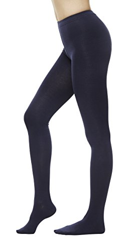 Women Color Flat knit Sweater Cotton Stirrup Footless Footed tights (S/M, Navy) -