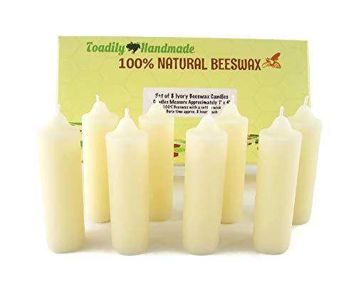 - Eight (8) Hand Poured Solid Beeswax Candles in Ivory - Each Candle Measures Approximately 1
