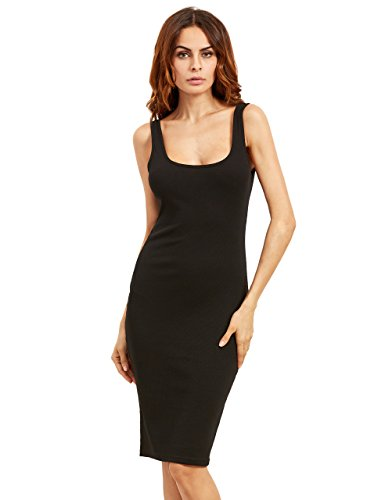 MAKEMECHIC Women's Basic Scoop Neck Bodycon Sleeveless Mini Tank Dress Black L ()