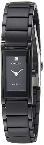 51e Watch - Citizen Women's Eco-Drive Japanese-Quartz Stainless-Steel Strap, Black, 14 Casual Watch (Model: EG7055-51E)