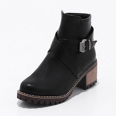 AIURBAG Damen Schuhe Kunstleder Herbst Winter Stiefeletten Stiefel Runde Zehe Stiefelies   Stiefeletten Schnalle Reißverschluss Für Normal Kleid