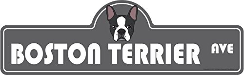 - SignMission Boston Terrier Street Sign | Indoor/Outdoor | Dog Lover Funny Home Décor for Garages, Living Rooms, Bedroom, Offices Personalized Gift | 20