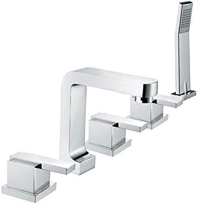 Chrome Bathtub Deck Mount Mixer Faucet 3 Handles Handheld Shower Sprayer Tap Set