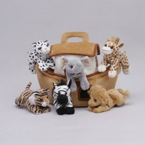 Plush Noahs Ark With Animals - Six 6 Stuffed Animals Lion Zebra Tiger Giraffe Elephant And White Tiger In Play Ark Carrying Case by Unipak Designs