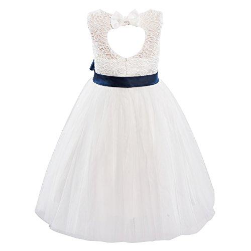 - Dresslane Ivory Lace Tulle Keyhole Back Wedding Flower Girl Dress