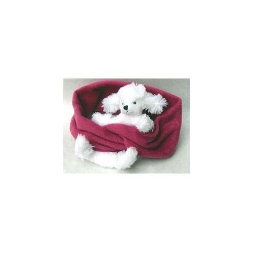 BearHands Little Girls'  Buddy Scarf, White Poodle/Fuchsia, One Size