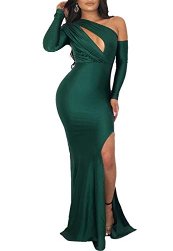 Women's One Shoulder Twist Front Cocktail Surplice Dress Gown Long Sleeve Bodycon High Slit Satin Maxi Long Dress(GR-M)
