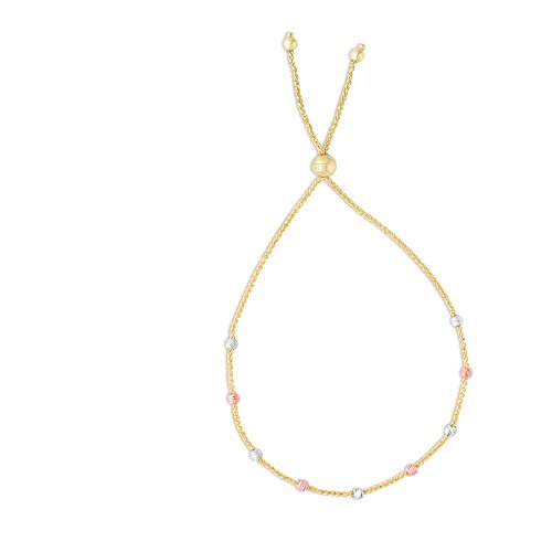 (Luxurman Friendship 14K Tri-Color Gold Diamond Cut Round Station Bead Yellow Round Wheat Chain Bracelet)