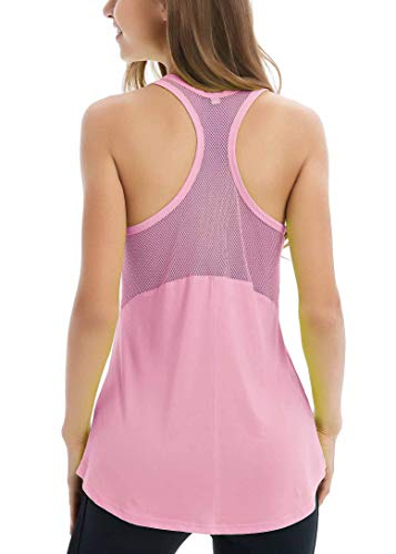 (Fihapyli Women's Sleeveless Yoga Shirts Workout Tank Tops Actives Breathable Mesh Backless Tank Yoga Tops Workout Shirts Running Workout Clothes for Womens RacerSport Tanks Activewear Pink M)