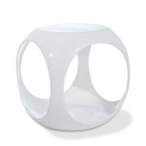 AVE SIX Slick High Gloss Finish Cube Occasional Table, White