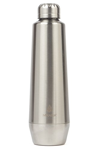 Manna Moda Metallic Stainless Steel Double Walled Vacuum Insulated 18 oz Water Bottle | No Sweat | BPA Free | Keeps Drinks Hot 12 Hours & Cold 24 Hours | For Office, Home or Camping - Stainless Steel