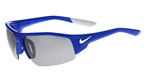 Nike Golf Skylon Ace XV Sunglasses, Game Royal/White Frame, Grey with Silver Flash - Lenses Silver Flash
