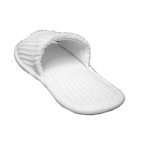 Waffle Open Toe Adult Slippers Cloth Spa Hotel Unisex Slippers for Women and Men Wholesale 100 Pcs White by TowelRobes (Image #1)