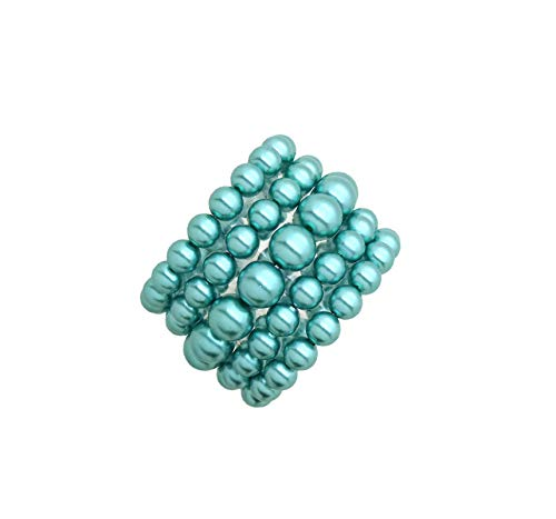 Fashion 21 Women's Simulated Pearl Stretch Bracelet Stack 5 Piece Set (Teal - Teal Set Pearl