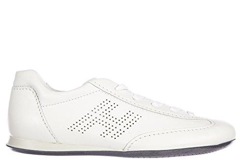 Hogan chaussures baskets sneakers femme en cuir olympia h bucata blanc