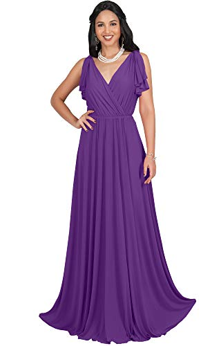 - KOH KOH Plus Size Womens Long V-Neck Sleeveless Flowy Prom Evening Wedding Party Guest Bridesmaid Bridal Formal Cocktail Summer Floor-Length Gown Gowns Maxi Dress Dresses, Violet Purple 3XL 22-24
