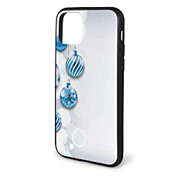 Shockproof Phone Case Compatible with iPhone 11 6.1 Series 2019, New Year Theme A Clock and Glass Balls Illustration Christmas Decoration Pattern