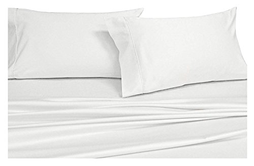 Royal's Solid White 1000 Thread Count 5pc Split-King: Adjustable King Size Bed Sheet Set 100% Cotton, Sateen Solid, Deep - White Thread 1000