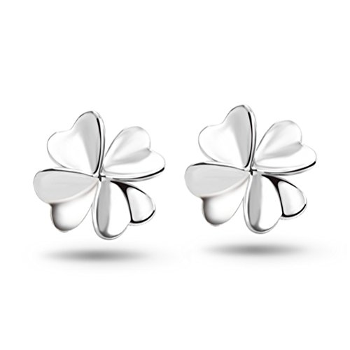 Cut Earrings Leaf Diamond - YINHAN Women's Sterling Silver Four Leaf Clover Stud Earrings Silver