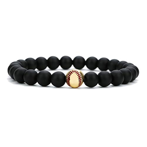 Halin Dre Fashion Alloy Baseball Bangle 8MM Onyx Lava Rock Beads Bracelet(Onyx Gold)