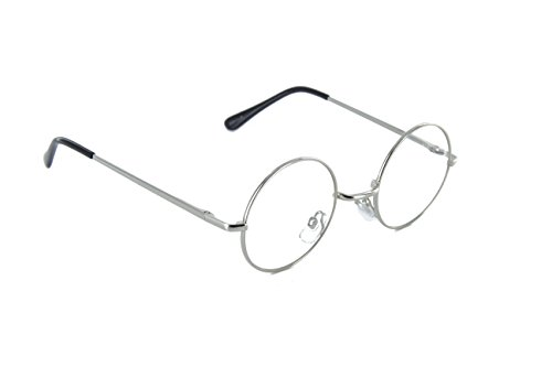 Small Circle Round Glasses Metal Frame Harry Porter Style (Silver, Clear)