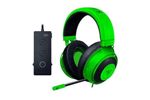 https//images-na ssl-images-amazon com/images/I/41dnJO4OojL jpg,Razer Kraken Tournament Edition Auriculares Gaming, con Cable, Control de Audio y THX Spatial Audio, Alambrico, Verde