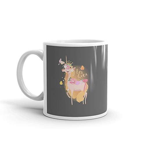 Cute Beautiful Unicorn Princess Girl In Crown Floral Flowers Wreath Tied Bow Bird And Butterflies Funny Mugs 11 Oz Ceramic (Pigeon Pajamas Childrens)