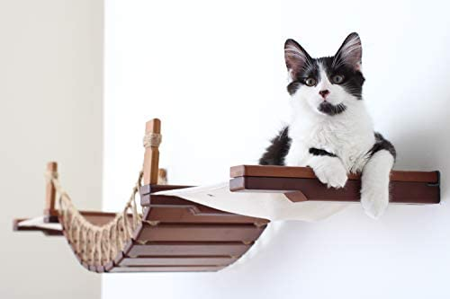 CatastrophiCreations Cat Bridge Wall-Mounted Play and Lounge Toy Cat Tree with Fabric Lounger for Pets – Natural Natural, One Size