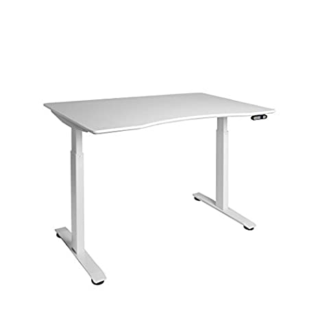 Seville Classics AIRLIFT S2 Electric Height-Adjustable Standing Desk with White Ergo Table Top with Beveled Bottom Edges, 54