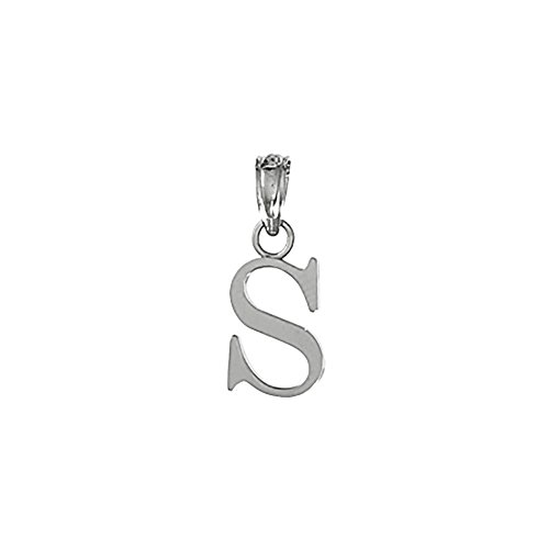 14k White Gold Charm Pendant, S Block Initial, High Polish