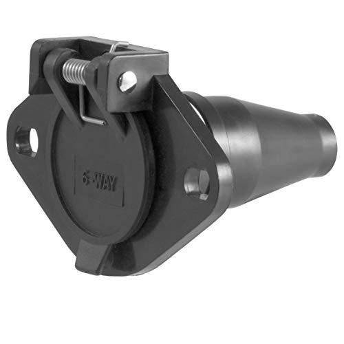 CURT 58130 Vehicle-Side 6-Way Round Trailer Wiring Harness Socket, 6-Pin Trailer Wiring