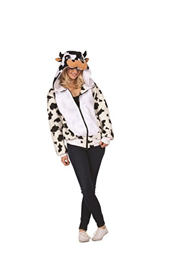 (RG Costumes Unisex Caset The Cow Hoodie Adult Large, White/Black Patterned, Large)