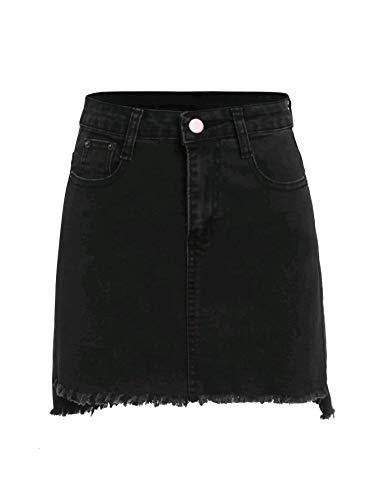 SheIn Women's Basic Stretchy Mini Short Bodycon Denim Skirt