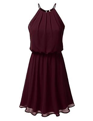 DRESSIS Double Layered Chiffon Mini Dress S-3XL (13 Solid, 15 Floral)