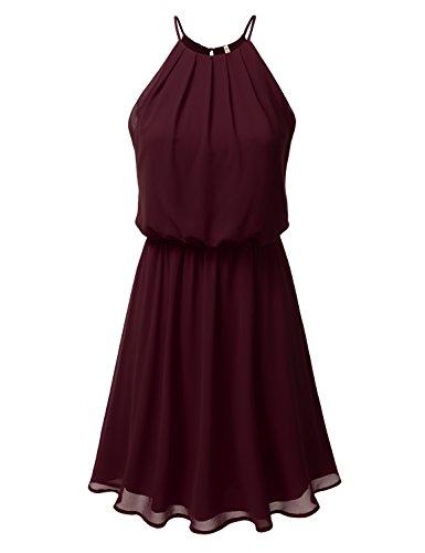 DRESSIS Womens Double Layered Chiffon Mini Tank Dress