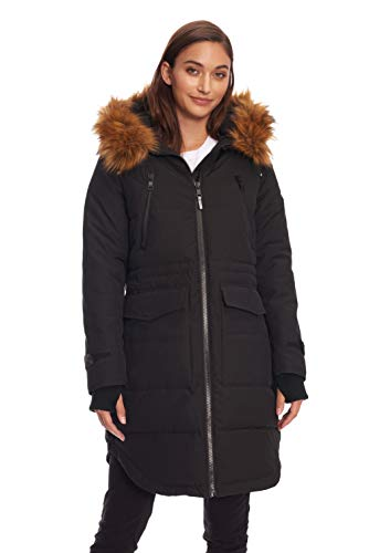 Alpine North Womens Vegan Down Drawstring Winter Parka, Black, S (Black Down Parka)