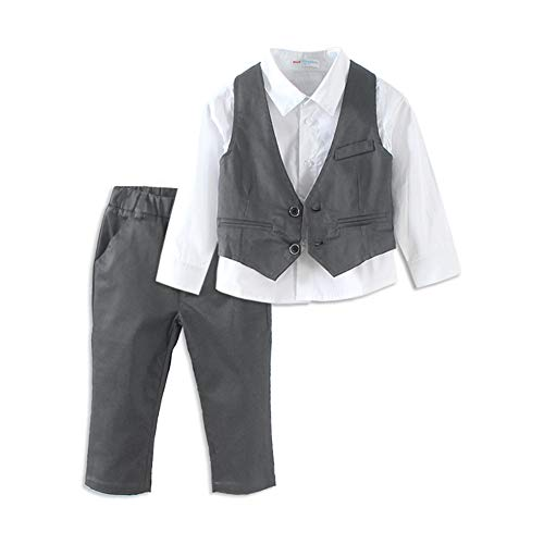 Mud Kingdom Light Grey Toddler Boy Suit Set 4T