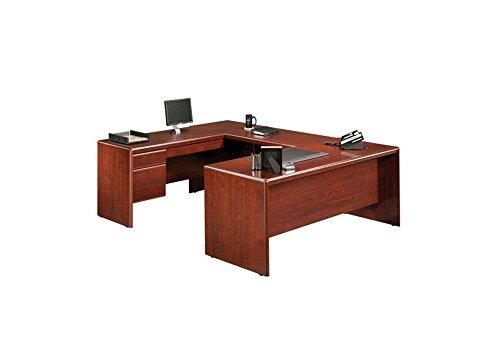 Return Desk Office Modular - Sauder Office Furniture Cornerstone Collection Classic Cherry Reversible U-Desk with Laptop Drawer