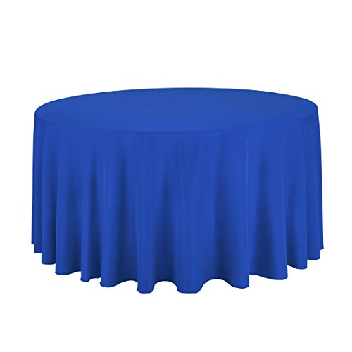 Craft and Party - 10 pcs Round Tablecloth for Home, Party, Wedding or Restaurant Use. (Royal Blue, 120'' Round) by Craft & Party