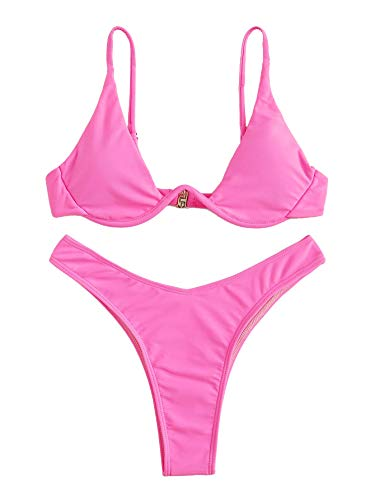 (Verdusa Women's Sexy Triangle Bathing Two Pieces Swimsuit Bikini Set Hot Pink L)