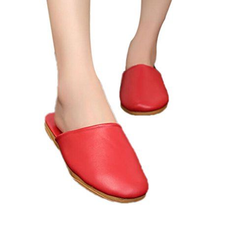 Rouge Mute Wooden Summer PU TELLW Leather Slippers W Men for Women and Floor Spring Autumn qXdxqFwY6
