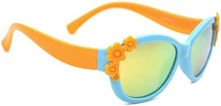 TIJN TR Frame Polarized Cateye Sunglasses Cute Flower Oval Shaped for Girls Kids 10042905