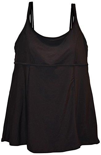 Heat Women's Plus Size Swimdress Swimsuit Scoop (20W, Black) -