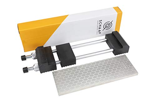 Schaaf Tools 400/1000 Grit Diamond Sharpening Stone | 8 x 3 Inches | Universal Base | eBook Included ()